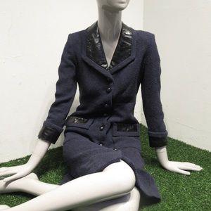 authentic CHANEL size 34 cotton tweed TOP COAT